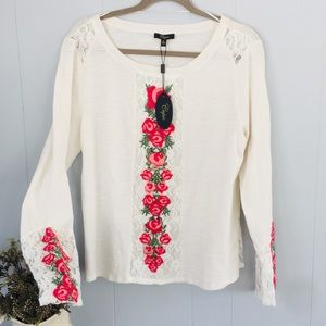 Tops - CUPIO Ivory blouse with ROSES! NEW!